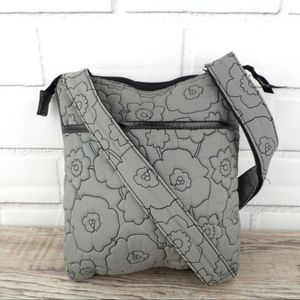 Thirty One Quilted Crossbody Gray Floral Stitching